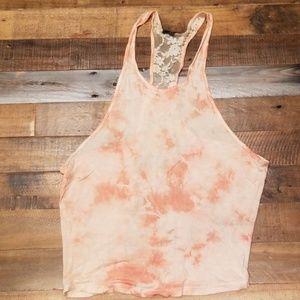 Womens tye-dye orange/white tank